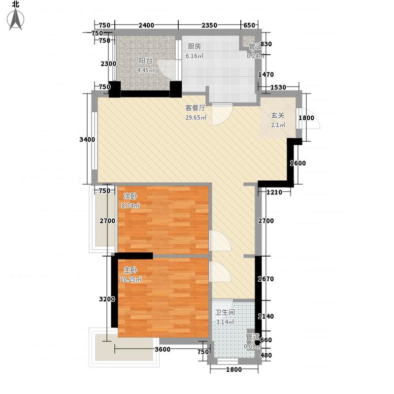 当代国际花园铂公馆2室1厅1卫1厨82.00㎡户型图