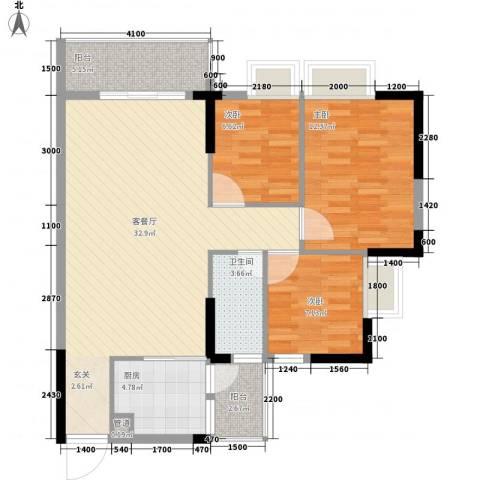 金海怡景花园3室1厅1卫1厨75.46㎡户型图