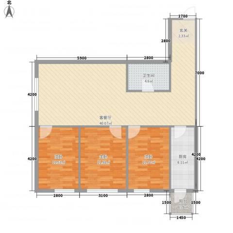 御翔阳光3室1厅1卫1厨108.00㎡户型图