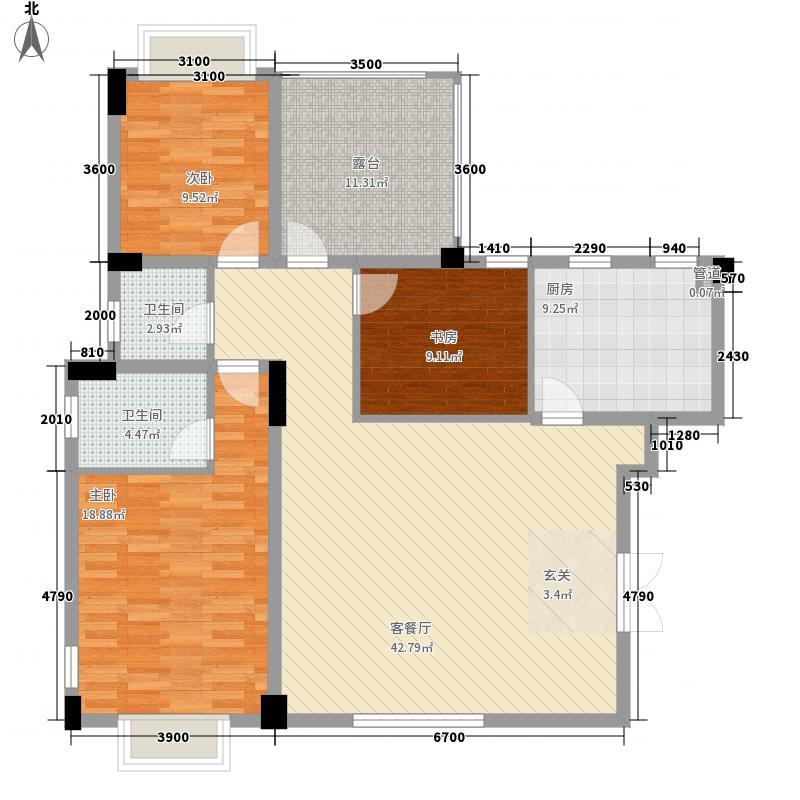 中铁世纪金桥3室1厅2卫1厨124.00㎡户型图