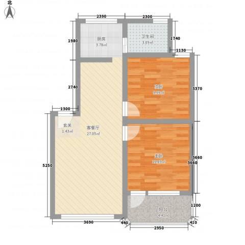 盘江花园2室1厅1卫0厨80.00㎡户型图