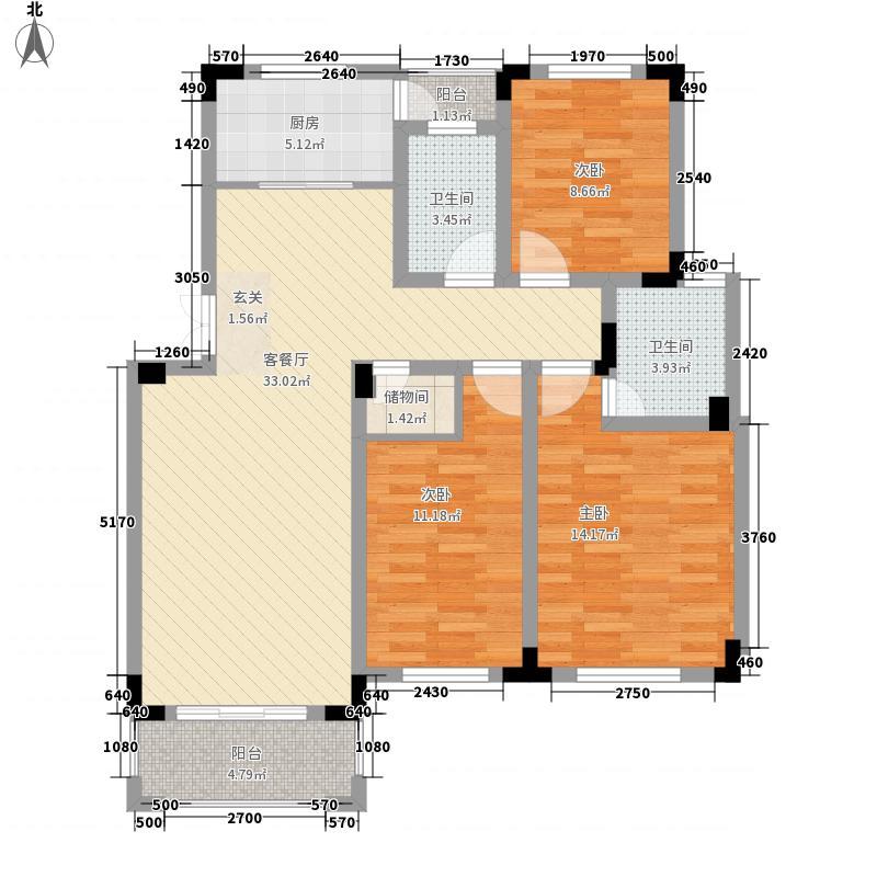 襄河湾126.30㎡F户型3室2厅1卫1厨
