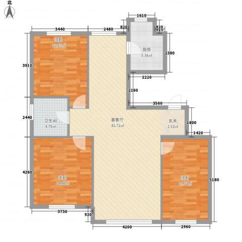 秀月居3室1厅1卫1厨129.00㎡户型图