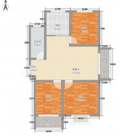 滨海花园3室1厅1卫1厨113.00㎡户型图