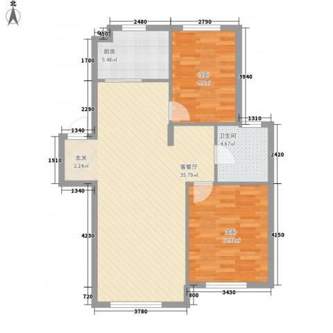 秀月居2室1厅1卫1厨95.00㎡户型图