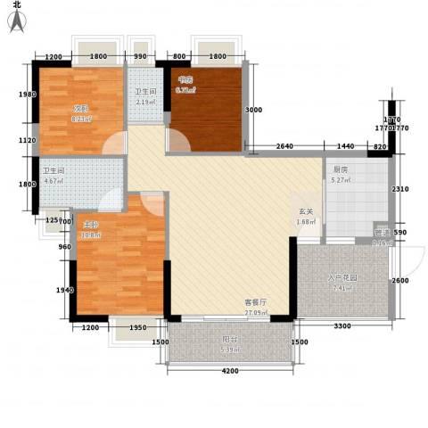 金海怡景花园3室1厅2卫1厨77.92㎡户型图