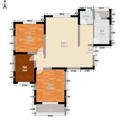 天鹅湖畔3室1厅1卫1厨130.00㎡户型图
