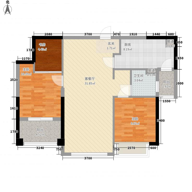 当代国际花园铂公馆3室1厅1卫1厨74.34㎡户型图