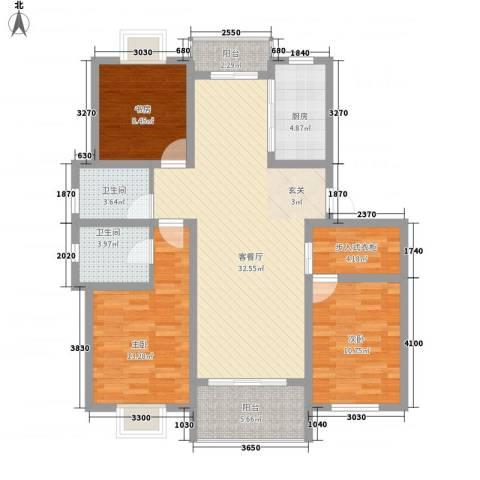 龙新家园3室1厅2卫1厨130.00㎡户型图