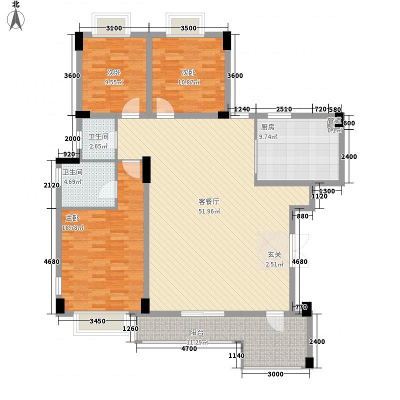 中铁世纪金桥3室1厅2卫1厨142.00㎡户型图