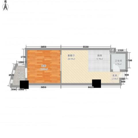 万都阿波罗1室1厅1卫0厨58.00㎡户型图