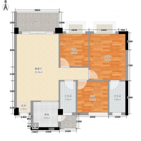 和丰明苑3室1厅2卫1厨102.00㎡户型图