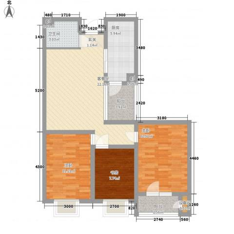 永华新城3室1厅1卫1厨102.00㎡户型图