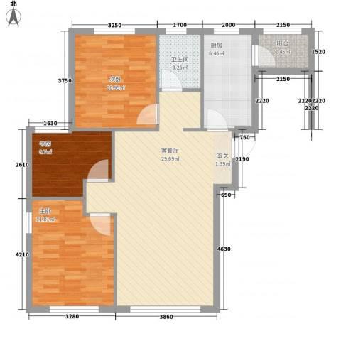 秀月居3室1厅1卫1厨100.00㎡户型图