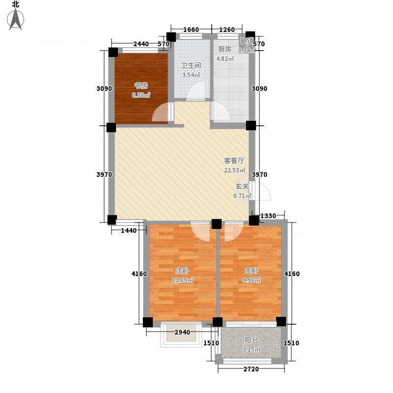 学府上城87.70㎡B户型3室2厅1卫1厨