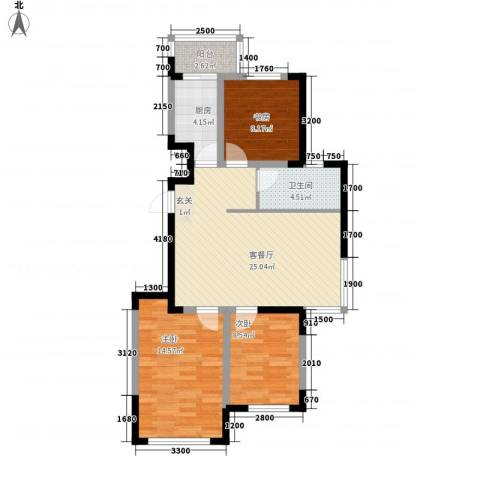 东逸美郡3室1厅1卫1厨67.60㎡户型图