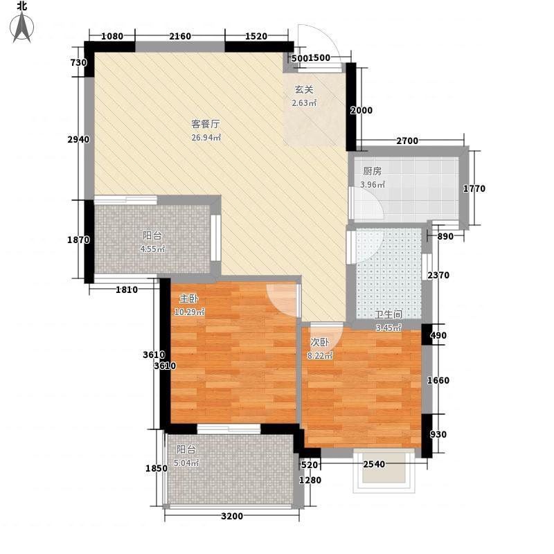 福晟钱隆时代75.00㎡12#楼02、03单元户型2室2厅1卫1厨