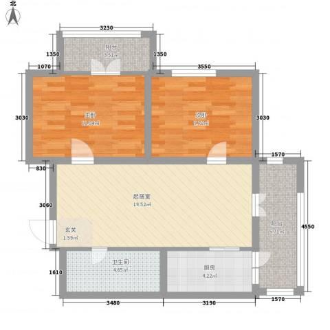 金帆明居2室0厅1卫1厨58.36㎡户型图