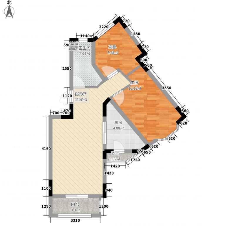云锦台2室1厅1卫1厨74.00㎡户型图