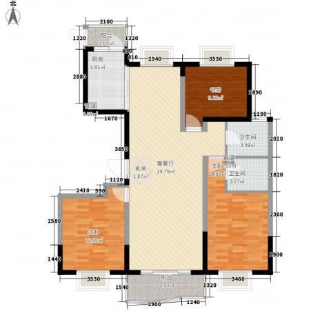 天山星城二期3室1厅2卫1厨139.00㎡户型图