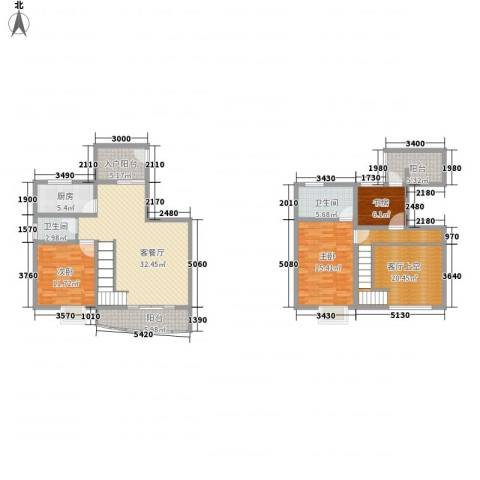 十里江南3室1厅2卫1厨135.00㎡户型图