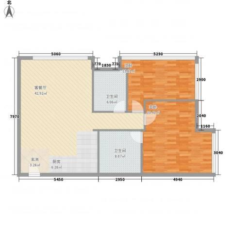 新世界名泷2室1厅2卫0厨124.00㎡户型图