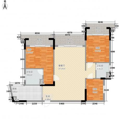 翡翠明珠3室1厅2卫1厨115.00㎡户型图