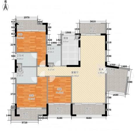 翡翠明珠3室1厅3卫1厨158.23㎡户型图