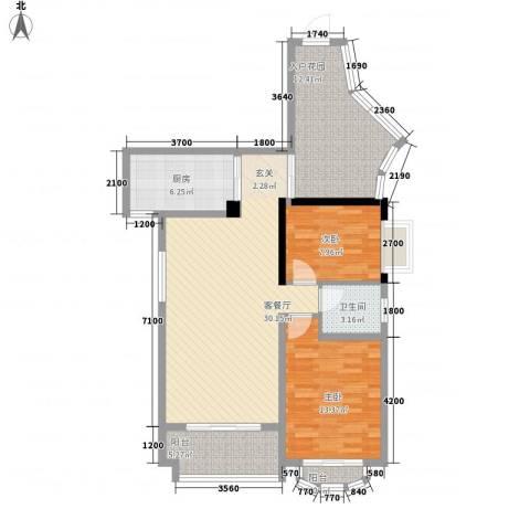 未来海岸浪琴湾2室1厅1卫1厨115.00㎡户型图