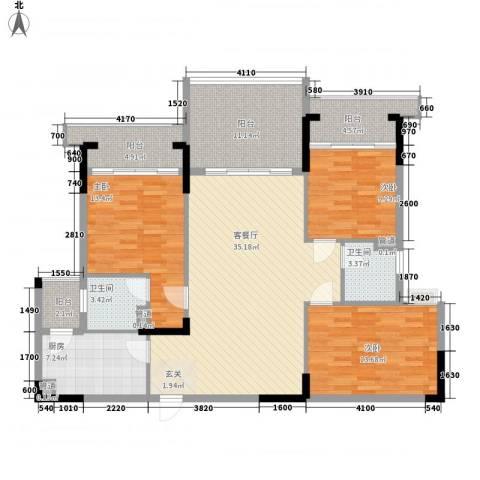 翡翠明珠3室1厅2卫1厨122.97㎡户型图