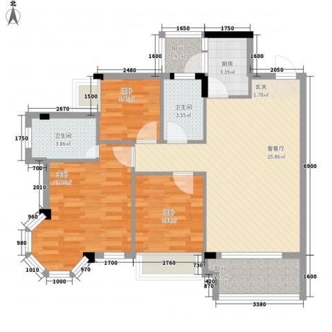 风度广场3室1厅2卫1厨94.00㎡户型图