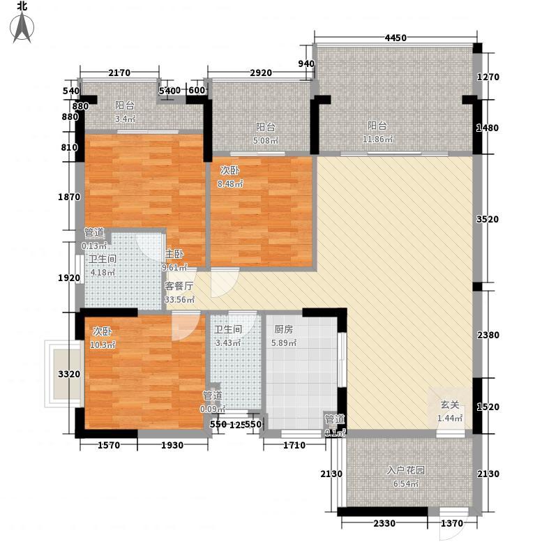 翡翠明珠11.22㎡一期G1座01单位/G2座02单位户型3室2厅2卫1厨