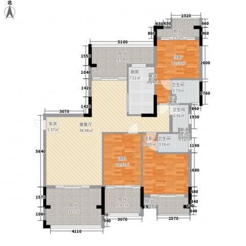 翡翠明珠3室1厅3卫1厨145.65㎡户型图