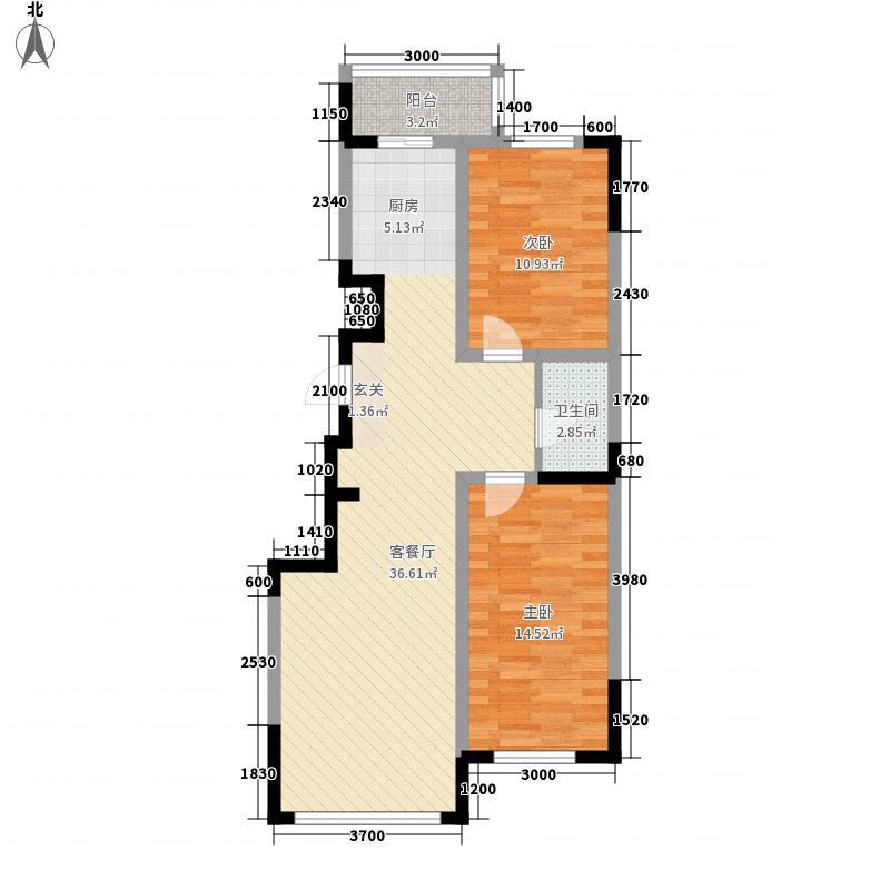 东逸美郡3.00㎡C户型2室2厅