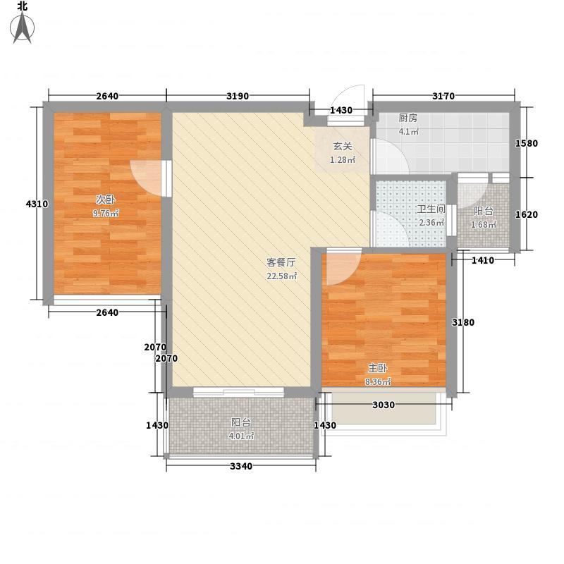 镇江西海岸76.00㎡C1户型2室2厅1卫1厨