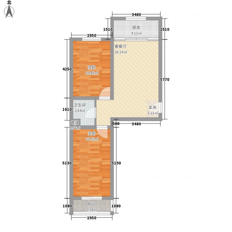 瑞欣78.00㎡小区A1户型2室1厅1卫1厨