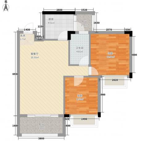 风度广场2室1厅1卫1厨74.00㎡户型图