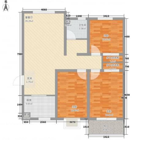 凯隆御景3室1厅1卫1厨126.00㎡户型图