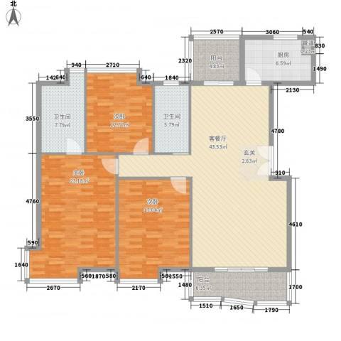 丽景碧雅3室1厅2卫1厨156.00㎡户型图