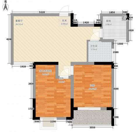 怡景花园2室1厅1卫1厨83.00㎡户型图