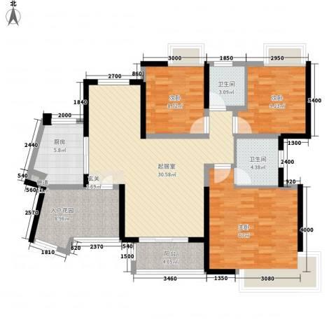 世纪城龙祺苑3室0厅2卫1厨91.92㎡户型图