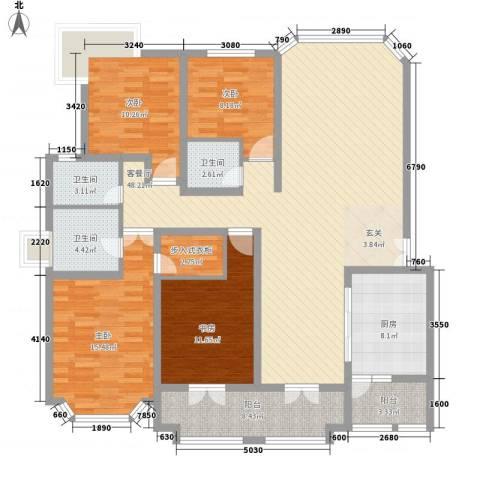 奉贤玫瑰苑4室1厅3卫1厨189.00㎡户型图