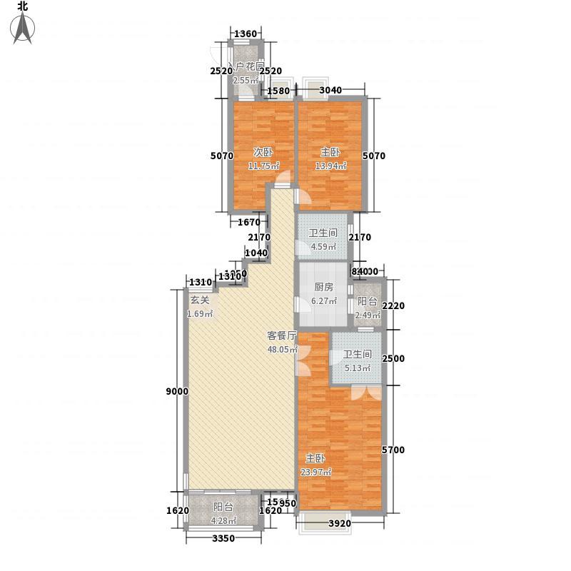 晓港名城172.00㎡2号楼标准层N2户型3室2厅2卫1厨