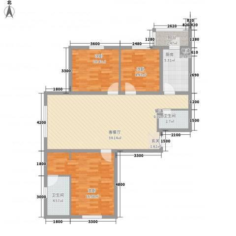 冠芳园二期3室1厅2卫1厨97.49㎡户型图
