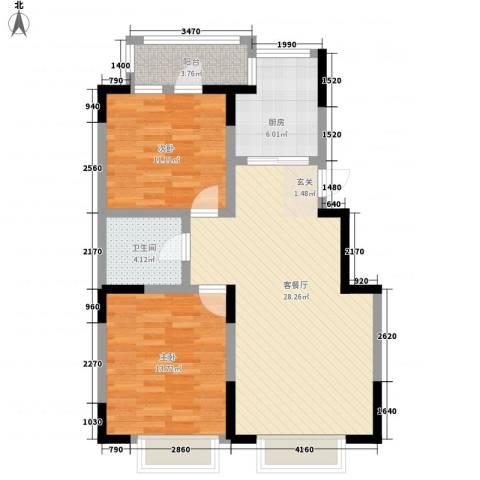 U-WORLD优品天地2室1厅1卫1厨96.00㎡户型图