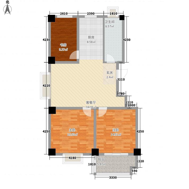 润扬新城12.38㎡J3户型3室2厅1卫1厨