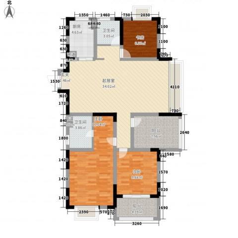 香堤澜湾二期爱琴岛3室0厅2卫1厨133.00㎡户型图