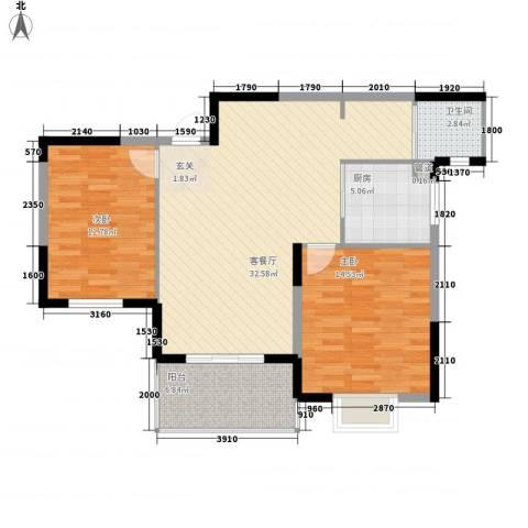 盛唐大厦2室1厅1卫1厨106.00㎡户型图