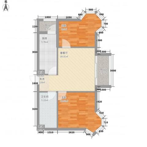 御龙逸城三期2室1厅1卫1厨85.00㎡户型图
