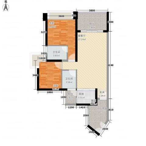 鸿洲国际公馆2室1厅2卫1厨74.81㎡户型图